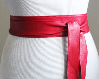 Red Narrow Obi Belt Soft Leather | Leather Coat Belt | Leather tie belt | Narrow Nappa Leather Belt| Soft Obi Belt