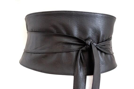 black corset obi belt soft leather wide waist belt by