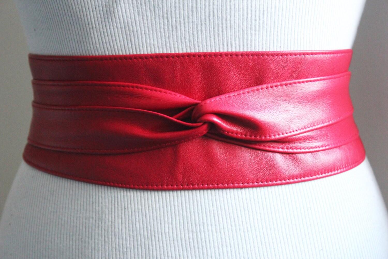 obi belt soft leather leather tie belt real by loveyaayaa
