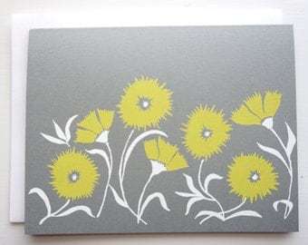 Set of 5 Vintage Floral Screen Printed Note Cards ~ Gray Red and Yellow ~Folded Card