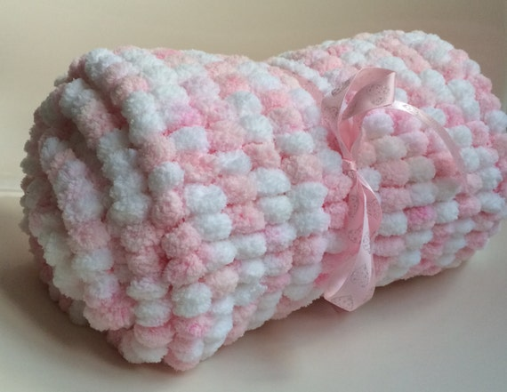 Hand Knitted Baby Blanket In Rico Pom Pom Pompon Yarn Wool In