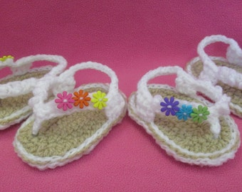 Handmade Crocheted Baby Girl's Groovy Flower Flip Flops/ Easter Gift/ Baby Shower Gift