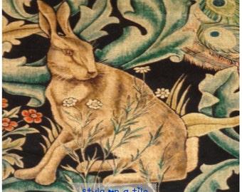 Lovely William Morris Forest Rabbit Hare large ceramic tile trivet kitchen bathroom walls splash backs fireplace tile plant stands