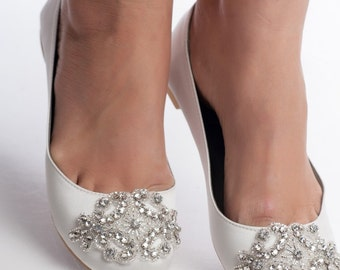 wedding shoes, bridal flat, wedding flat shoes, Oriane bridal flat embelished with rhinestones