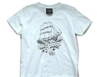 T-shirt, white, V neck, kids, Sailor's print, UNDER MY SKIN, hand-printed, limited edition