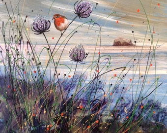 Robin And Thistles. Winter In East Lothian. Print from original painting by Pam Mckenzie