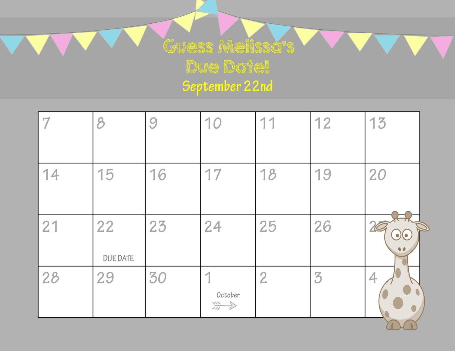 Calendar Dates : Printable due date calendar baby shower game guess the