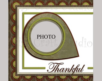 Digital Scrapbook Quick Page Thankful 12 x 12 png and jpg format.