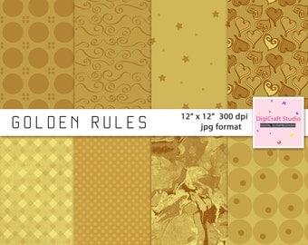 Digital Gold Scrapbook Paper 8 sheets of  12 x 12  jpg format 300 dpi