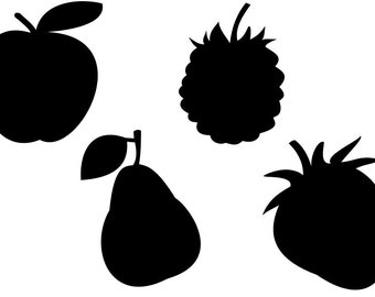 Apple Pear Blackberry and Strawberry Fruits SVG Cutting Pattern - For printing, stencils, cutting and material printing