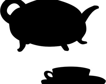 SVG Cutting Pattern Tea Pot Tea Cup - For printing, stencils, cutting and material printing