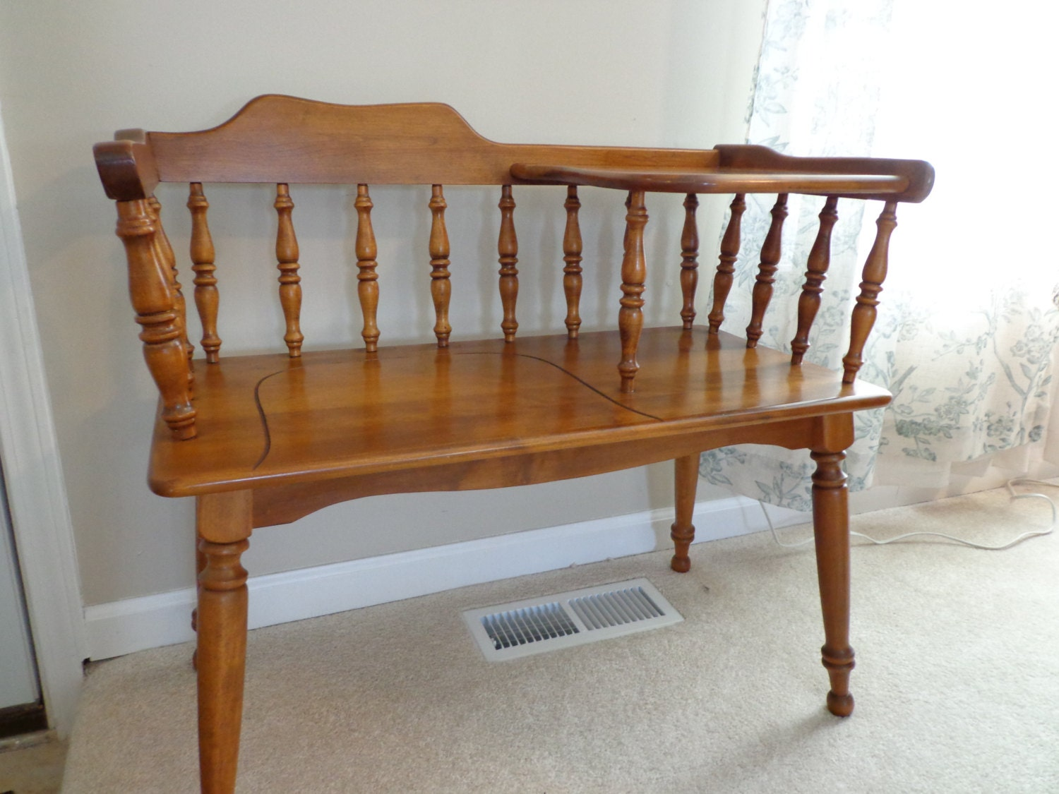 Ethan Allen Gossip Bench Telephone Table Gossip Seat 1980s