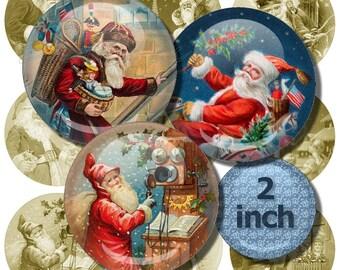 Digital Collage Sheet, Santa Images from Old Postcards, 2 inch Circles, Printable Santa Paper, Vintage Christmas Images, Digital Download