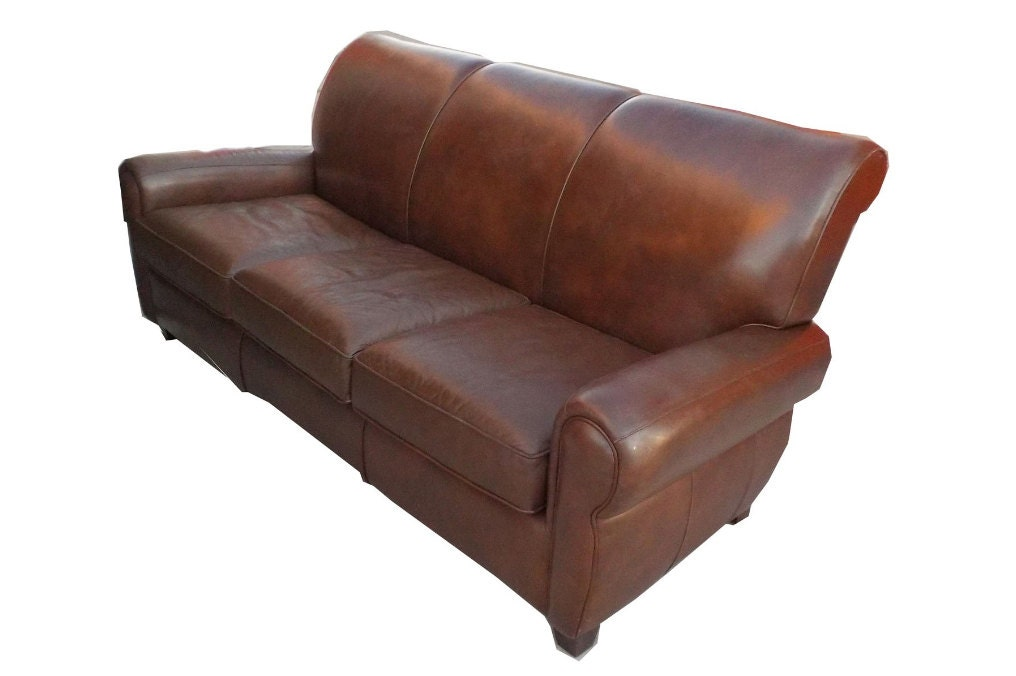 Vintage distressed brown leather wayne phillips furniture for Phillips furniture