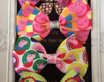 Peppa Pig Inspired Triple Bow Clip
