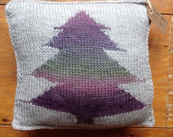 Hand Knit Varigated Rustic Tree Pillow