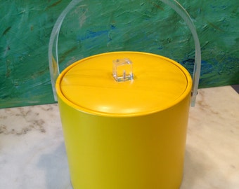 Vintage yellow vinyl ice bucket