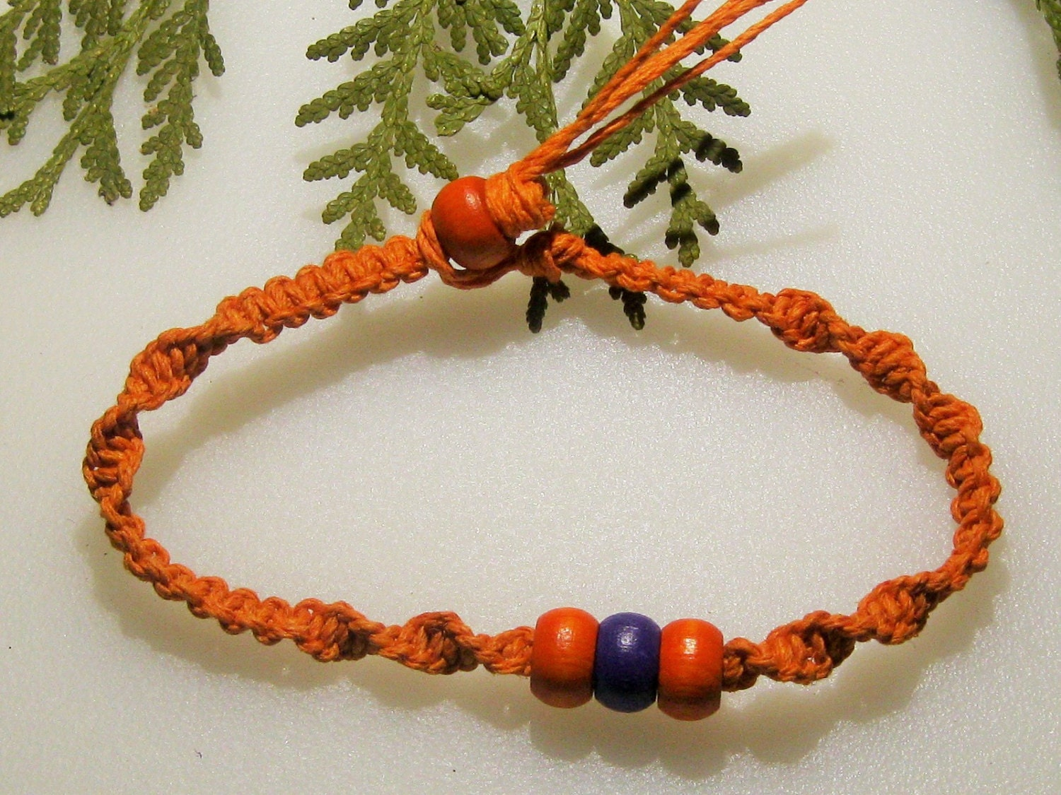 orange hemp ankle bracelet bracelet purple and orange beaded