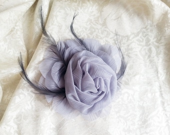 Grey and Black Corsage/brooch chiffon flower, bridesmaid Corsage hand made flower  feathers