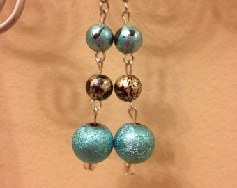FREE SHIPPING !!! Turquoise And Gold Light Weight Dangles. 2