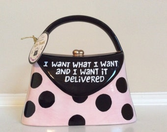 Girls Just Wanna Have Funds/Ceramic Purse Bank/Our Name is Mud/Handpainted, Lorrie Veasey.