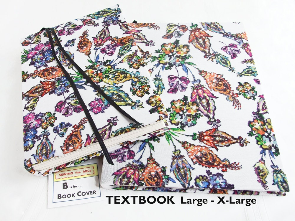 Large Cloth Book Covers ~ Textbook cover painted flowers large stretch fabric