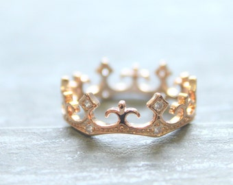 sovereign 14K rose Gold Crown Ring
