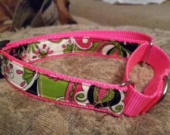 floral nylon Martingale Dog collar