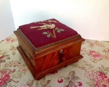 Victorian Petit Point RoseWood Box with Abalone Escutcheon Needlepoint Bird Lid Rosewood Box