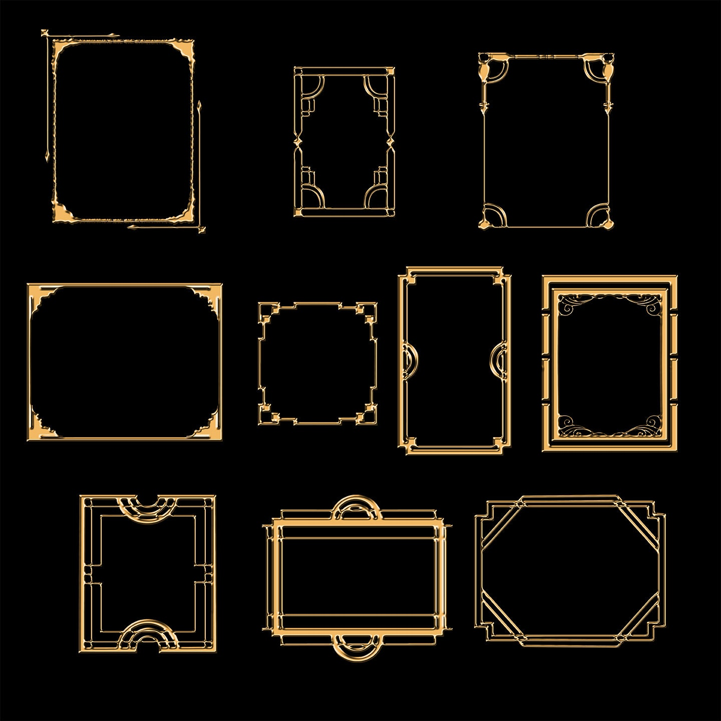 gold art deco clipart 50 art deco digital frames set 2 clip art