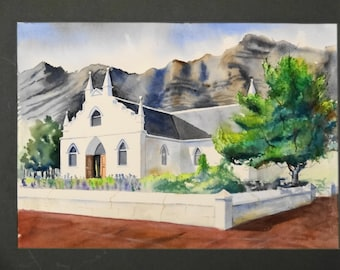 """Original watercolor """"Franschhoek church""""- mountains-Africa- South Africa- white church- stone wall"""