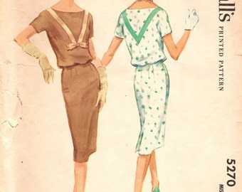 McCall's 5270 Head Turner Dress with Bloused Bodice 1959 / SZ12 UNCUT