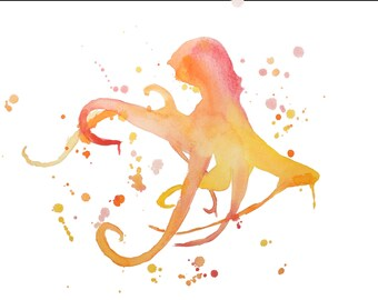 Octopus Watercolor-Red, Yellow, and Orange Abstracted Print