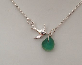 Pretty bird and turquoise multi sea glass necklace.