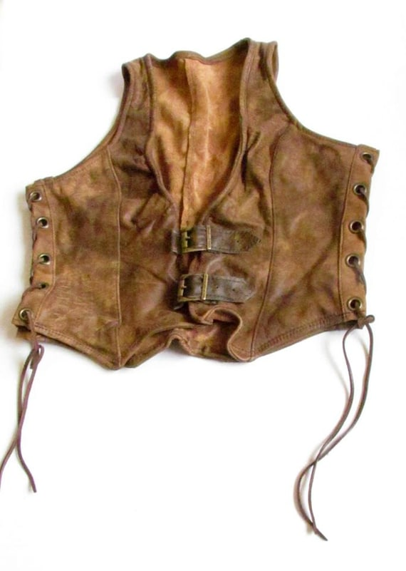 Women'S Sexy Brown Leather Vest 98