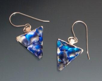 Dichroic Earrings - Blue Earrings, Blue Dangle Earrings, Short Dangle Earrings, Blue Glass Earrings, Blue Dichroic Earrings