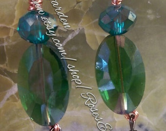 Glass Crystal Earrings Ooak