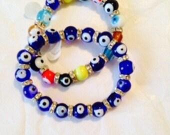 Third eye bracelet. Third eye jewely. Stretch bracelet. Multcolor bracelet. Blue bracelet. Blue jewelr. Multicolor beads. Beads TBFB0531