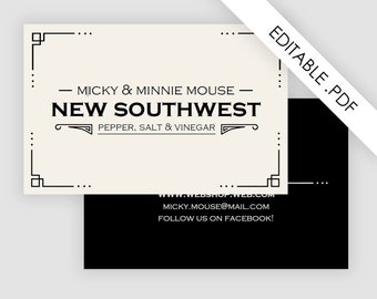 Art deco business card, printable pdf, instant download, business stationery, retro business card design