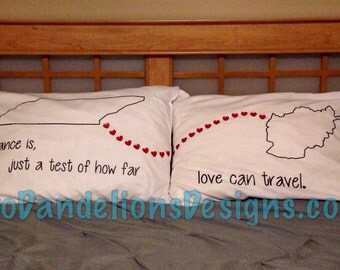 Long Distance Pillowcases YOU choose state or country