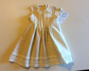Cotton dress with pleated bib size 92