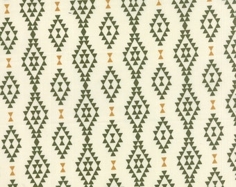 Nomad Fabric from Urban Chiks for Moda Fabrics.  Aztec Diamond Stripe in Bone and Cactus, Cream and Green