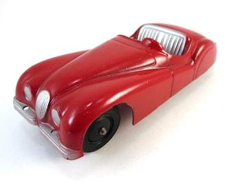 Vintage IRVIN Red Jaguar XK120 Diecast Car Toy Metal Die Cast Red Silver XK 120 Convertible