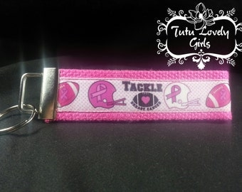 Tackle Breast Cancer inspired key fob keychain Breast Cancer Awareness inspired wristlet keychain