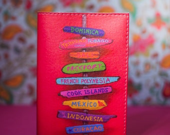 Passport cover leather pink
