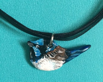 Handmade & Painted Clay Superb Blue Wren Necklace By Meaghan Roberts