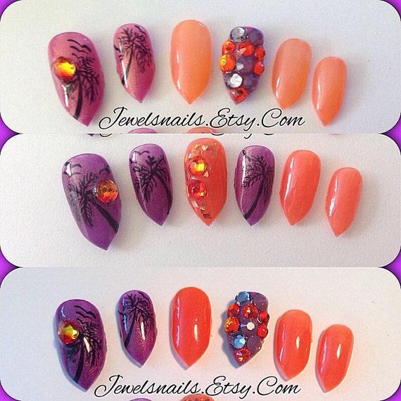 Items similar to Sunset designs, Swarovski , Gel Mood polish (changes  colors) Press on nails, false nails, fake nails, Gel nail art, custom  stiletto nails ... - Items Similar To Sunset Designs, Swarovski , Gel Mood Polish