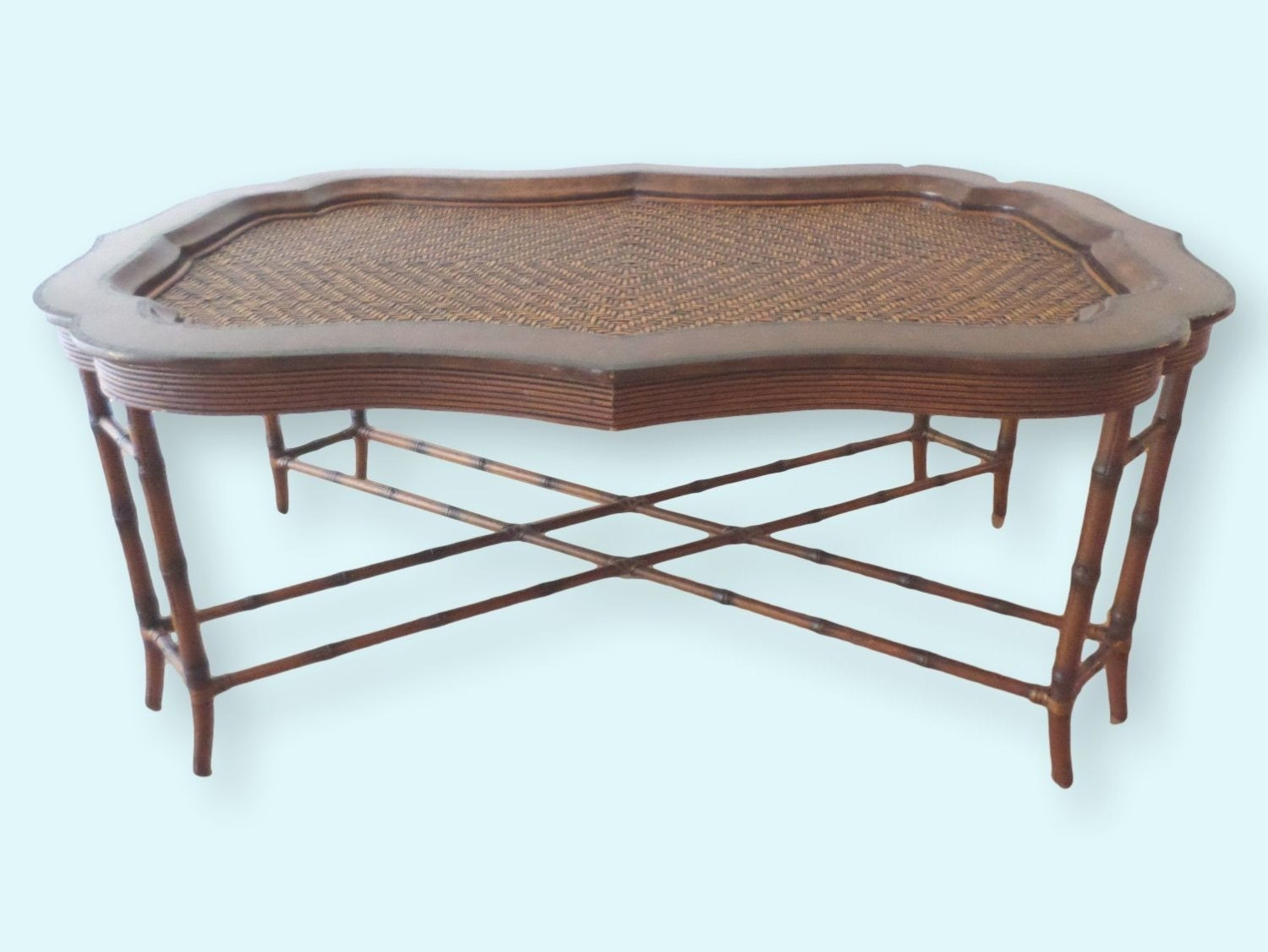 Vintage Maitland Smith Faux Bamboo Rattan Coffee Table With Leather Bordered Tray 58 X 36 X 22