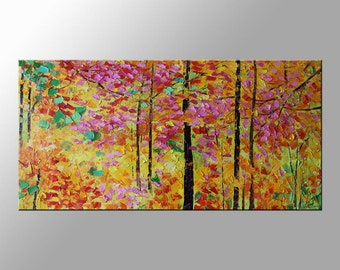 Landscape Painting AUTUMN Tree oil Painting by artist Clark Turner - Autumn Tree Original Oil Painting - Large Painting Textured