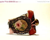 MOTHER DAY SALE Fabric cuff textile bracelet petit point goblin gold